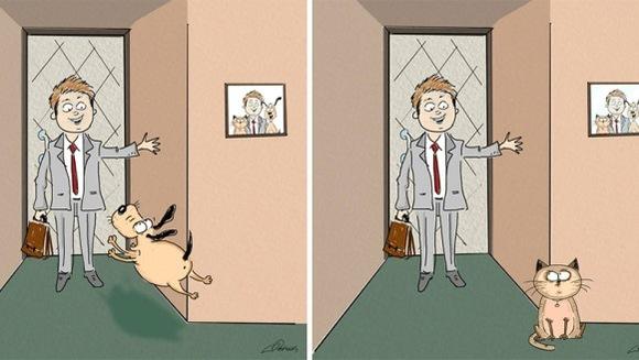 Pisici versus câini: şase diferenţe în ilustraţii amuzante - Galerie Foto