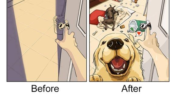 Viaţa înainte şi după ce îţi iei un câine, în ilustraţii amuzante - Galerie Foto