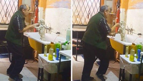 Patronul unui salon de îngrijire a animalelor de companie, filmat în timp ce dansa cu un client – VIDEO viral