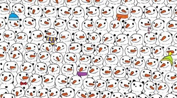 Puzzle-ul care a înnebunit pe toată lumea. Tu reuşeşti să găseşti ursul panda printre toţii oamenii de zăpadă?