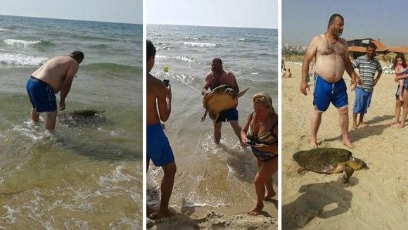 A fost târâtă din apă pentru a-și face selfie-uri cu ea și a o lovi