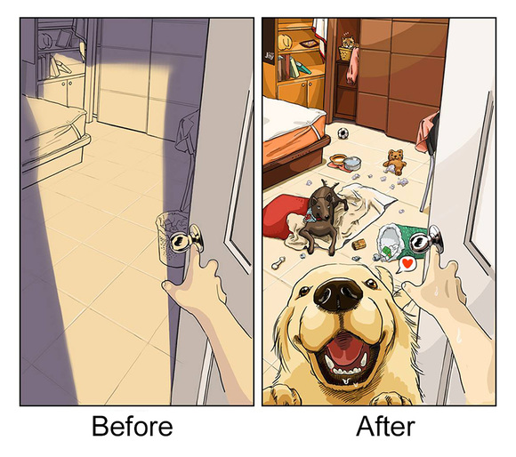 Viaţa înainte şi după ce îţi iei un câine, în ilustraţii amuzante (Galerie Foto)